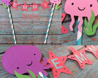 Under the Sea Cake Bunting Topper - Smash Cake - Ocean Themed Birthday - Sea Life Animals Decorations - Octopus JellyFish Starfish