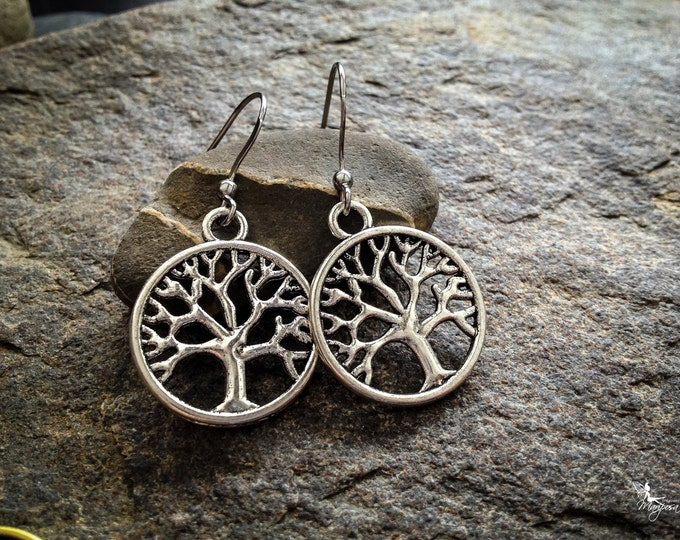 Tree of life earrings boho yoga jewelry zero allergy hooks  gift under 5 dollars Bohemian jewellry by Creations Mariposa