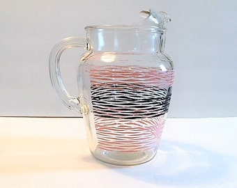 Vintage Pitcher Clear Glass with Pink and Black Strips Heavy Mid Century Serving Pitcher Retro Kitchen