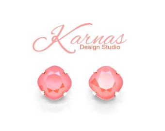LIGHT CORAL 2018 Lacquer Pro 12mm Cushion Cut Stud or Drop Earrings Swarovski Crystal *Pick Your Finish *Karnas Design Studio *Free Shipping