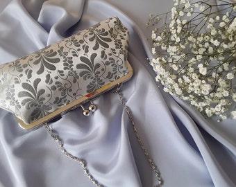 Handmade Silk Clutch Bag, Made In Ireland, Silver Clutch, Silver Blue Clutch, Wedding Clutch, Silk Brocade Clutch, Silver Evening Bag