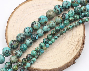 African Turquoise Beads -- Smooth Loose Round Ball Bead Wholesale 4mm 6mm 8mm 10mm MHA-155