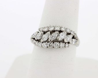 Marquise and round diamond Platinum Ring