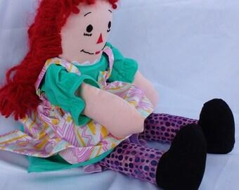 Artist Raggedy Ann Doll, Raggedy Ann with braids, unique Raggedy Ann doll