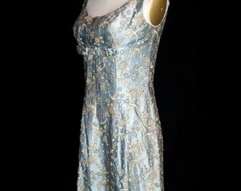 Original Vintage 1950's Blue Embraoidered Satin Dress