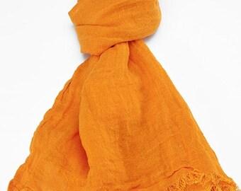 Orange 100% linen scarf, orange linen scarf, flax scarf, spring scarf, linen shawl, orange shawl, linen wrap, orange scarf, unisex scarf