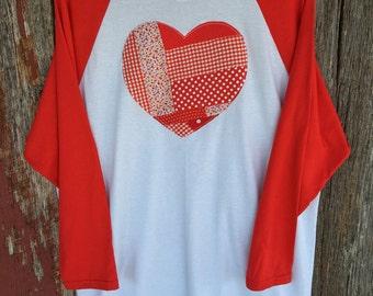 Patchwork Heart applique baseball tee - raggy patchwork heart shirt - heart raglan - Valentine's Day Heart shirt