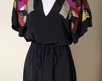 Vintage Yoana Baraschi Black Dress with Boho Disco Multi Colored Sequin Shoulders