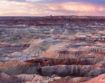 Large Metal Wall Art, Painted Desert, Sunset, Arizona, Fine Art Landscape Photography Print, Ready to Hang Wall Art, Southwest decor, pink,