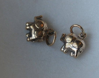 Bronze Thai Elephant Charms, Trunk Up, Cute, Tiny, Elephant Charms,Lucky Elephant Charm,Baby Elephant, Bronze Charms,Boho,Pairs,BS16-010
