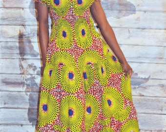 African print gypsy maxi dress in lime green and blue hues.