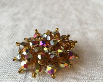 CLEARANCE Vintage Amber Crystal Cluster Brooch, AB Crystal, Amber Color, Topaz Color, Round Brooch, MK239
