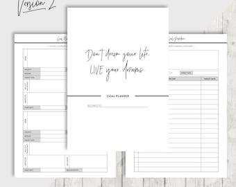 A5 Goal Planner, Printable Planner Inserts, Filofax, Kikki K, Habit tracker, Goal setting, Bucket list, Project Planner, INSTANT DOWNLOAD