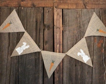 EASTER BUNNY Banner | CARROT Banner | Burlap Banner | Easter Decor | Spring Decor | Rustic Home Decor | Photo Shoot Prop | Easter Mini Prop