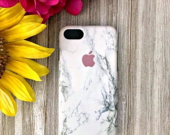 White Marble Phone Case with Apple Logo | iPhone 7 8 X | iPhone 7 8 Plus Case | Personalized | Gift