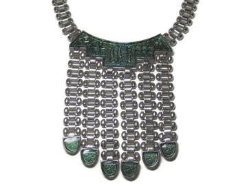 Vintage Green Enamel Egyptian Runway Bib Necklace