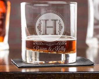 personalized whiskey glass, wedding gift for him, anniversary gift for husband, monogram gift, engagement gift