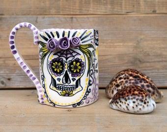 sugar skull calavera mug mexican dia de los muertos, MADE TO ORDER