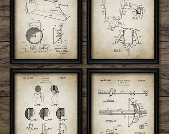 Fencing Patent Print Set Of 4 - Fencing Equipment Design - Mask - Rapier - Épée - Sabre - Swordsmanship Sport - #2266 - INSTANT DOWNLOAD