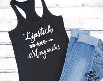 Lipstick and Margaritas, Concert shirt, Concert tank, lipstick, Margarita shirt, Funny tank, Mom shirt, Summer shirt, Country shirt