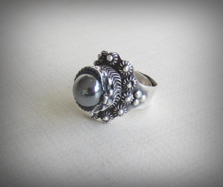 vintage taxco hematite n silver ring adjustable sizing