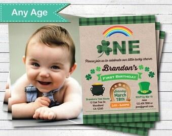 St Patrick first 1st birthday invitation. Boy bday party invite. Rustic kraftpaper shamrock green plaid. Any age. digital photo invite STP24
