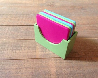 Vintage Coasters, Tile Coasters with Container, Set of Six, Green, Blue and Pink Coasters