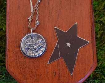 Fine Silver Pendant of a Man with a Cart and Horse | Precious Metal Clay | Crocheted Necklace