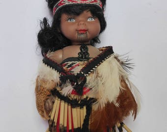 Vintage 1960s Maori Doll in Traditional Dress, Real Feather Cape, New Zealand, Mid Century Souvenir, Kiwiana Decor, Collectible, Cute!