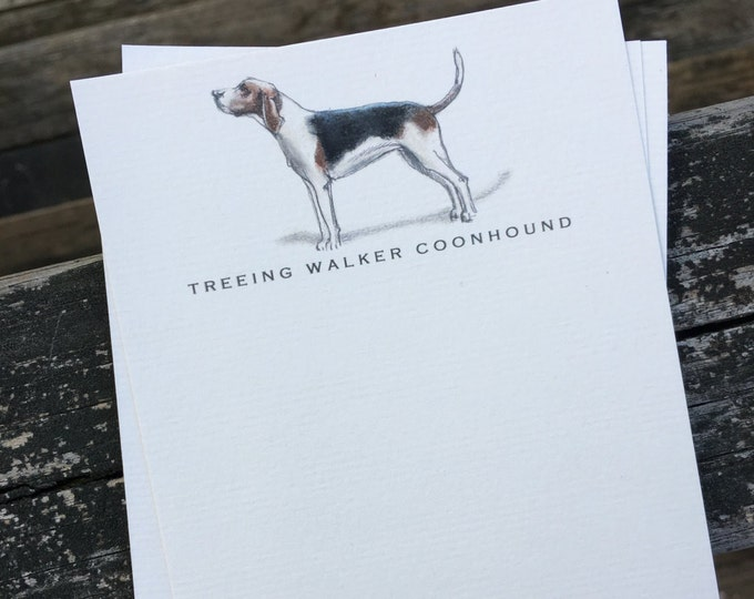 Treeing Walker Coonhound Dog Note Card Set