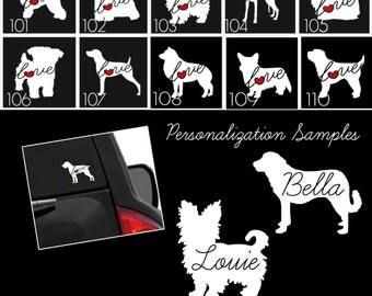 Dog & Cat Breeds Vinyl Car Window Laptop Sticker - Dog Decals - Dog Stickers - Cat Decals - Pet Stickers - Personalized Pet Decals - 102s