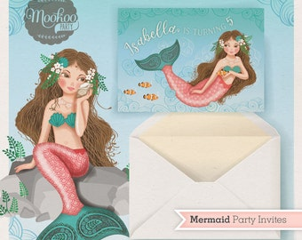 Mermaid Party Invitations Printable