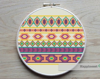cross stitch borders pattern, aztec inspired PDF pattern, geometric pattern ** instant download**