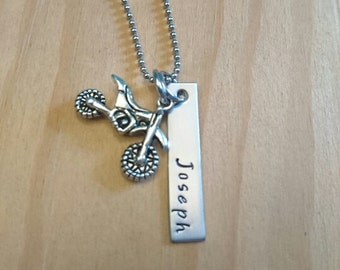 Hand Stamped Personalized Dirt Bike Necklace - Motocross - BMX Bike - Motomom