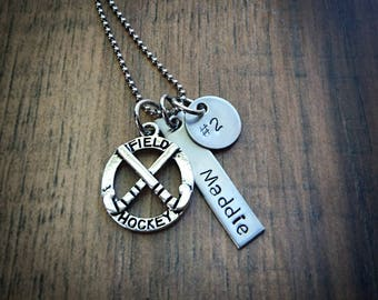 Hand Stamped Personalized Field Hockey Necklace - Field Hockey Gifts - Girls Field Hockey Team Gift