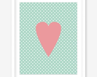 Printable nursery art - printable poster - mint decor - mint nursery print - printable heart print - heart printable art - DIGITAL DOWNLOAD