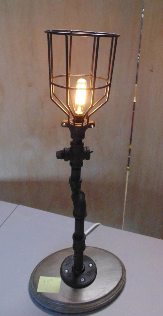 steampunk lamp black iron pipe w cage shade. Black Bedroom Furniture Sets. Home Design Ideas