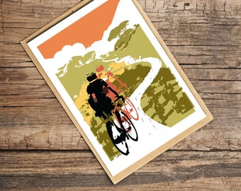 Head In The Clouds Blank Card, Card for Cyclists, Bicycle Card