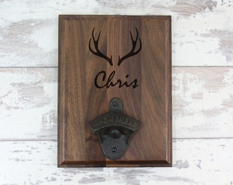 Personalized Wood Bottle Opener Gift For Him - Engraved Bottle Opener - Gifts For Him - Groomsman Gift - Christmas Gift