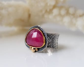 Ruby Ring, Natural Ruby Stone, Faceted Ruby Ring, One of a kind Ring, Handmade, Red Stone Ring, Sterling Silver Ring and 14K Gold,