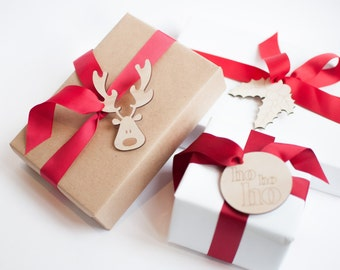 6 x Christmas gift tags holiday gift wrapping laser cut