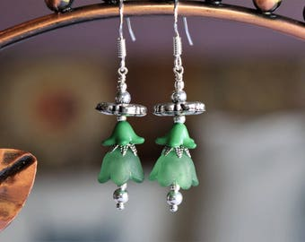 Green Lucite Flower Earrings (15)