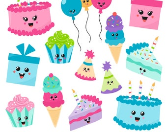80% OFF SALE Birthday Clipart, Kawaii Birthday Clipart, Digital Birthday Clipart, Birthday Graphics, Printable, Commercial Use