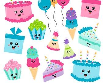 80% OFF SALE Birthday Clipart, Kawaii Birthday Clipart, Digital Birthday Clipart, Birthday Graphics, Printable, Commercial Use