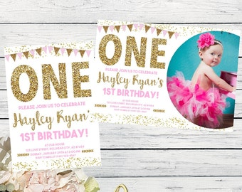 ONE- 1st Birthday Pink & Gold Invite***Digital File*** (One-buntingpic)