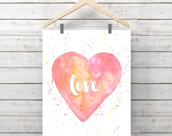 Heart Watercolor Print - Love Painting - Print of Watercolor - Pink Heart - Original Art by Angela Weber