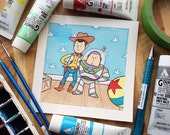 Toy Story Woody and Buzz Watercolor Print by Michelle Coffee