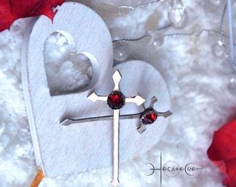 Swords silver earrings - Red Faceted garnet gemstone - Romantic Medieval Jewelry - Sword Cross earrings - Templar swords earrings - Unique