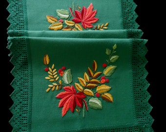 Vintage handmade large centerpiece or tablerunner -- green with hand-embroidered leaves, berries and branches -- 39x20.5 inches / 99x52 cm