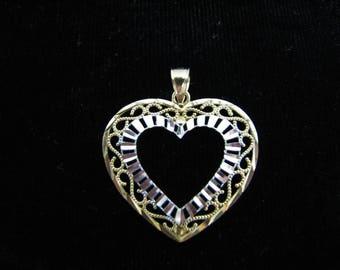 Lovely Two Tone 10k Yellow & White Gold Filigree Heart Pendant